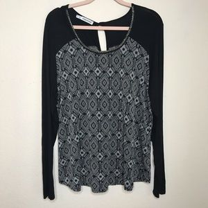 Maurices Beaded Mixed Textile Geometric Top